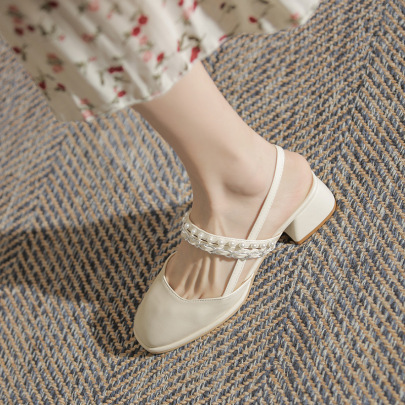 Wholesale Clothing Vendors Nihaostyles Mid-heel Square Head Pearl Sandals NSCA67135