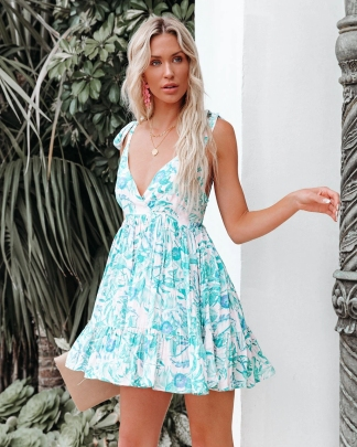 Nihaostyle Clothing Wholesale New Style Printed Deep V Bow Tie Strap Halter Dress NSOUY67475