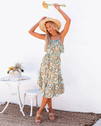 Nihaostyle Clothing Wholesale New Style Flower Print Ruffled Sling Mid-length Dress NSOUY67473