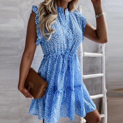 Wholesale Clothing Vendor Nihaostyles Stand Collar Polka Dot Print Sleeveless Dress NSXMI67165