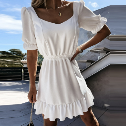 Wholesale Clothing Vendor Nihaostyles Slim Fit Square Collar Plaid Short Sleeve Dress NSXMI67164