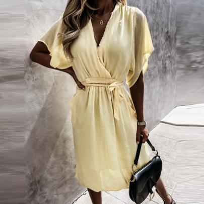 Wholesale Clothing Vendor Nihaostyles V-neck Solid Color Lace-up Dress NSXMI67163