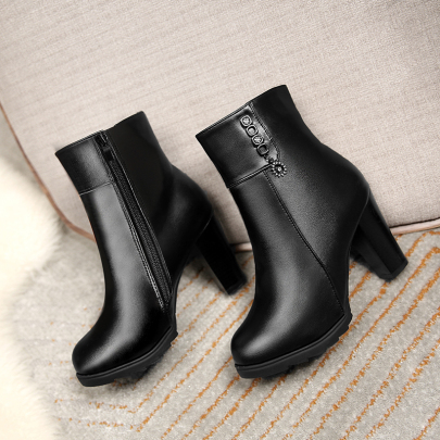 Nihaostyle Clothing Wholesale Block Heel High Heel Side Zip Short Boots NSYUS67187