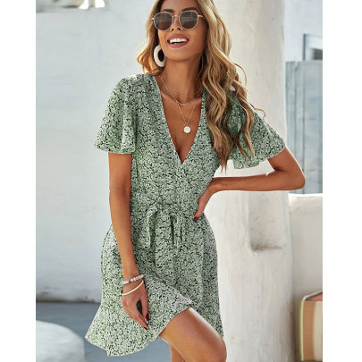 Nihaostyle Clothing Wholesale Summer New Fashion Slim V-neck Printed Short-sleeved Dress NSJIM67185