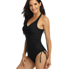 Wholesale Clothing Vendor Nihaostyles Solid Color Front Cross Drawstring One-piece Swimsuit  NSGM67196
