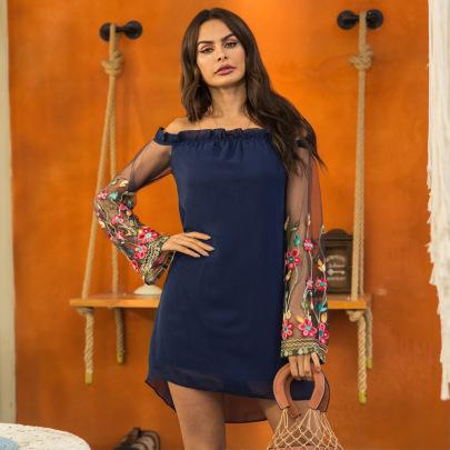 Nihaostyle Clothing Wholesale New Sexy Strapless Mesh Embroidered Chiffon Dress NSSA67208