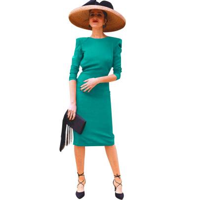Nihaostyle Clothing Wholesale Spring Split Bag Hip Pure Color Simple Dress NSSA67209