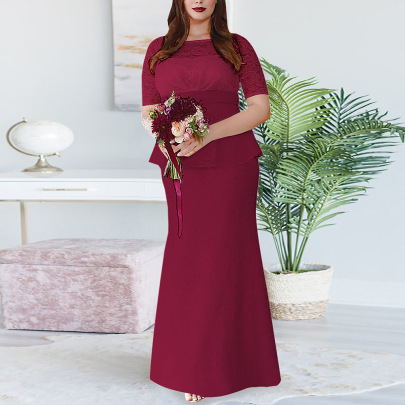 Nihaostyle Clothing Wholesale New Solid Color Stitching Lace Dress NSSA67210
