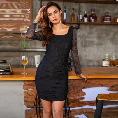 Nihaostyle Clothing Wholesale New Hepburn Style Black Slim Mesh Open Back Shiny Long-sleeved Hip Dress NSSA67215