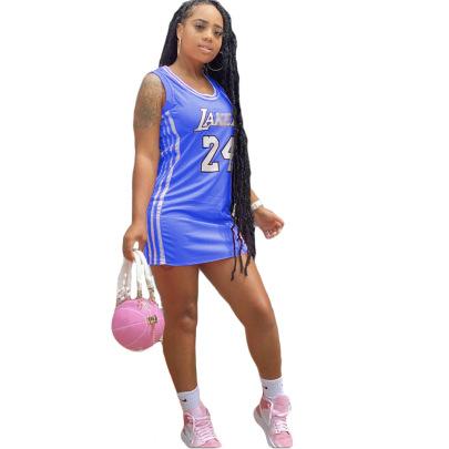 Wholesale Clothing Vendor Nihaostyles Round Neck Print Basketball Dress  NSCN67223