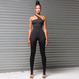 Wholesale Clothing Vendor Nihaostyles Solid Color Irregular Slanted Shoulder Sleeveless Straps Open Back Tight-fitting Casual Straight-leg Jumpsuit NSJYF67260
