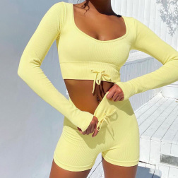 Nihaostyle Clothing Wholesale New Solid Color Shorts Set NSFLY67285
