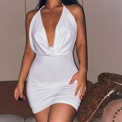 Nihaostyle Clothing Wholesale Summer New Sexy Deep Dress NSFLY67286
