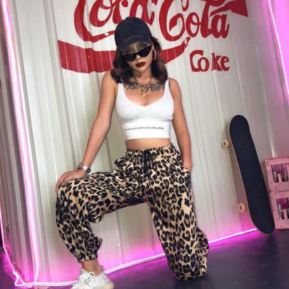 Nihaostyle Clothing Wholesale Leopard Print Lace-up Straight-leg Pants NSHTL67361