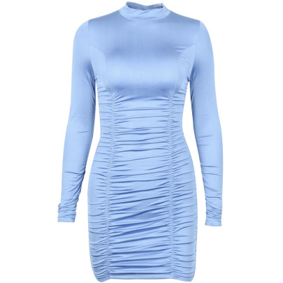 Nihaostyle Clothing Wholesale Solid Color Sexy Round Neck Slim Long-sleeved Dress NSHTL67366