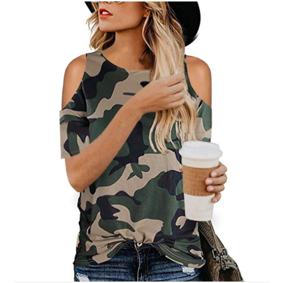 Wholesale Clothing Vendor Nihaostyles Leopard Print Camouflage Twisted Off Shoulder Short Sleeve T-Shirt NSYID67479