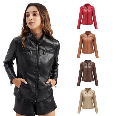 Wholesale Women's Clothing Nihaostyles Spring And Autumn Thin Locomotive Leather Jacket NSNXH67398