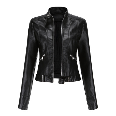 Wholesale Women's Clothing Nihaostyles Spring And Autumn Stand-up Collar Leather Jacket  NSNXH67408