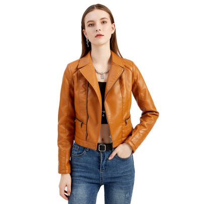 Wholesale Women's Clothing Nihaostyles Washed PU Leather Lapel Jacket  NSNXH67413
