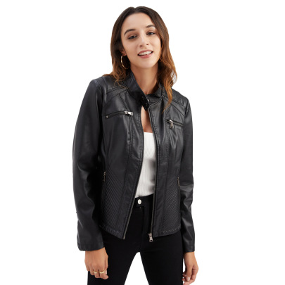 Wholesale Women's Clothing Nihaostyles Casual Leather Stand-up Collar Jacket  NSNXH67418