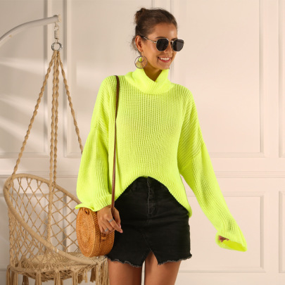 Wholesale Women's Clothing Nihaostyles Fluorescent Color Pile Collar Loose Sweater NSYX67429