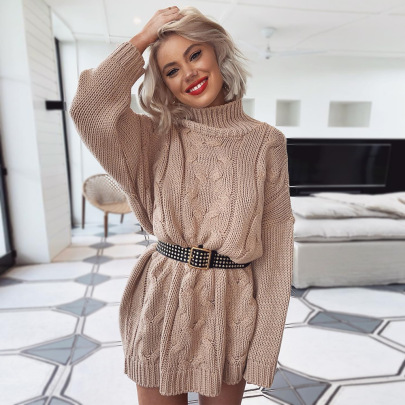 Wholesale Women's Clothing Nihaostyles Loose High Neck Long Sleeve Twist Knit Sweater Dress NSYX67431