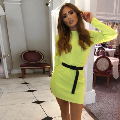Wholesale Clothing Vendor Nihaostyles New Long-sleeved Explosive Knitted Fluorescent Bag Hip Dress  NSYX67435