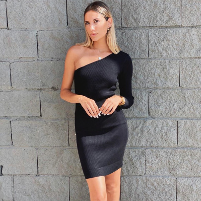 Wholesale Clothing Vendor Nihaostyles Sexy One-shoulder Pit Strip Long-sleeved Knitted Bag Hip Mid-length Dress  NSYX67453