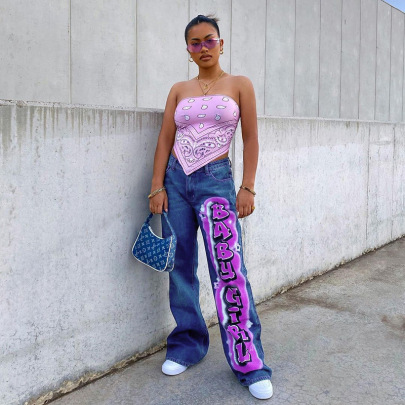 Nihaostyle Clothing Wholesale New Style Women's Hipster Letter Printing Leg Jeans NSRUI67467
