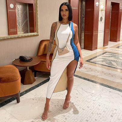 Stitching Round Neck Slits Hitting Color Sleeveless Dress Wholesale Women's Clothing Nihaostyles NSHTL67511
