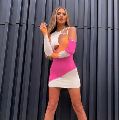 Nihaostyle Clothing Wholesale New Summer Sexy Stitching Hollow Round Neck Slim Dress NSHTL67515