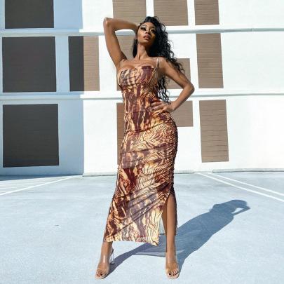 Nihaostyle Clothing Wholesale Retro New Spring Fashion Printing Split Dress NSHTL67520