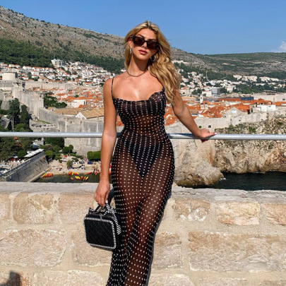Nihaostyle Clothing Wholesale New Style Mesh See-through Back Lace Long Skirt NSHTL67553
