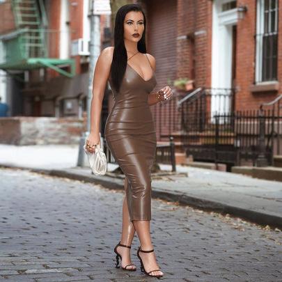 Wholesale Clothing Vendor Nihaostyles V-neck Slim Slit Mid-length Dress  NSHTL67587