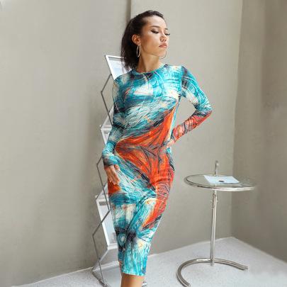 Wholesale Clothing Vendor Nihaostyles Round Neck Long-sleeved Dress NSHTL67589
