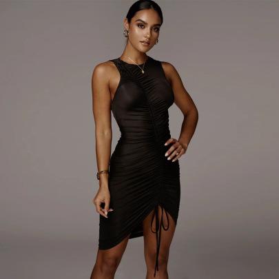 Wholesale Clothing Vendor Nihaostyles Sleeveless Adjustable Drawstring Dress NSHTL67603