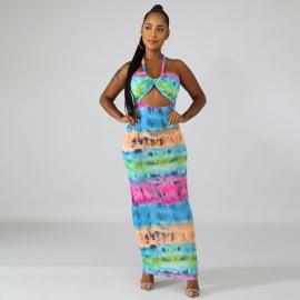 Wholesale Clothing Vendor Nihaostyles Printed Halter Neck Lace Mid-length Dress  NSHTL67604