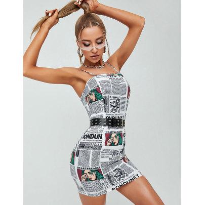 Summer New Style Letter Print Suspender Slim Dress NSJIM67619