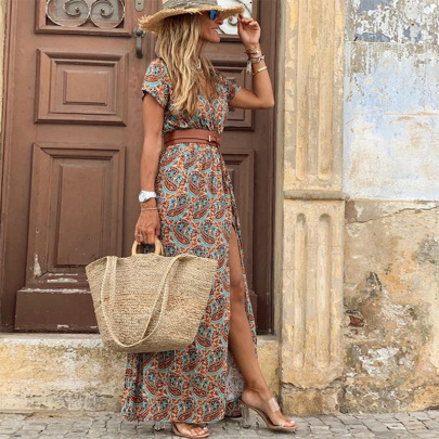 Nihaostyle Clothing Wholesale Women's Bohemian Long Printed Dress NSOUY67622