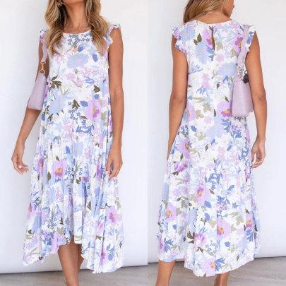 Loose Ruffled Sleeve Printed Dress Wholesale Women's Clothing Nihaostyles NSSUO67751