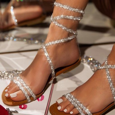 Winding Belt Rhinestone Sandals Wholesale Women's Clothing Nihaostyles NSJJX67767