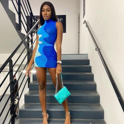 Hit Color High Collar Sleeveless High Waist Ultra Short Dress Wholesale Women's Clothing Nihaostyles NSMG67838