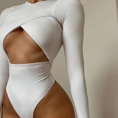 Solid Color Cross-cut Long-sleeved Long-sleeved Waist Slim Bodysuit Wholesale Women's Clothing Nihaostyles NSMG67840