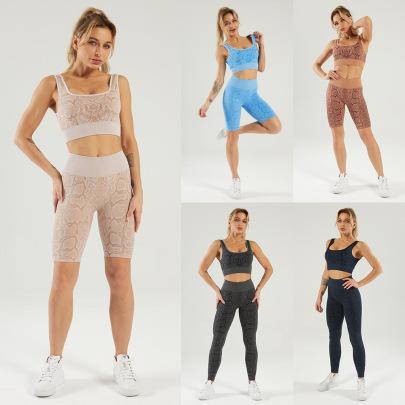 Seamless Snake Pattern Sports Fitness Yoga Set Nihaostyle Clothing Wholesale NSSYZ67848