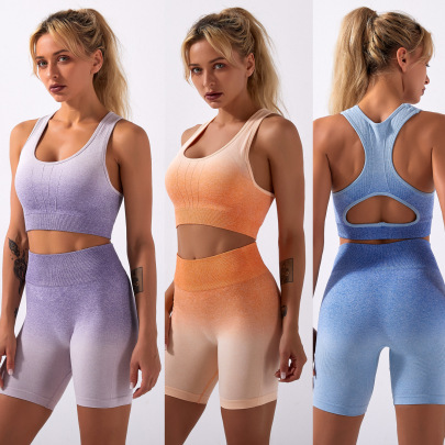 New Knitted Tie-dye Gradient Seamless Set Nihaostyle Clothing Wholesale NSSYZ67854