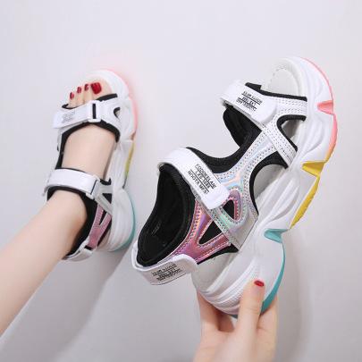 Diamond Flying Woven Velcro Round Head White Casual Sandals Wholesale Women's Clothing Nihaostyles NSLAX67879