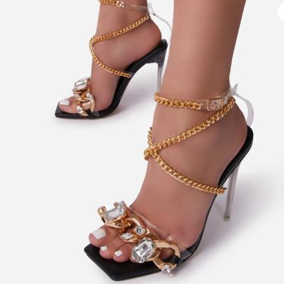 High Heels Rhinestone Strap Snake Sandals Wholesale Women's Clothing Nihaostyles NSLAX67882