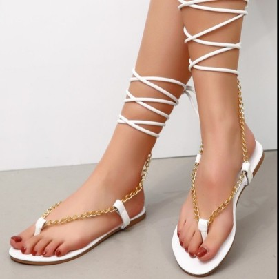 Sexy Metal Chain Anklet Straps Flat Sandals Wholesale Women's Clothing Nihaostyles NSLAX67885
