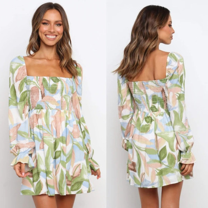Square Collar Horn Long Sleeve Printed Dress Wholesale Women's Clothing Nihaostyles NSJRM67922