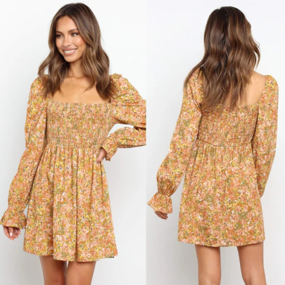 Casual Hedging Long Sleeve Square Neck Printing Dress Wholesale Women's Clothing Nihaostyles NSJRM67923